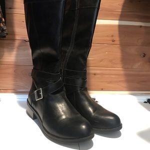 Women's black tall faux leather boot